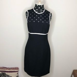 Ann Taylor dress w/ sheer top & button accent back